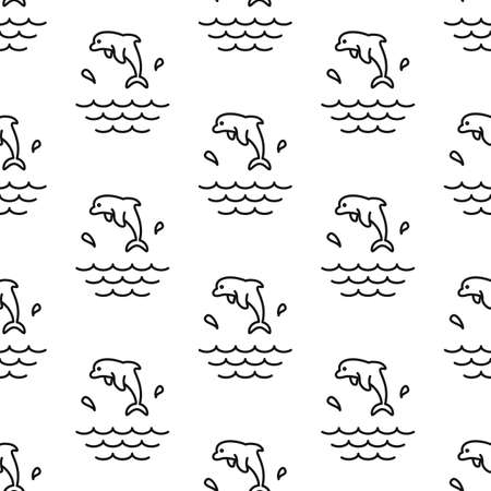 Dolphin Splashes. Pattern. Seamless vector illustration. Line. Flat.  イラスト・ベクター素材