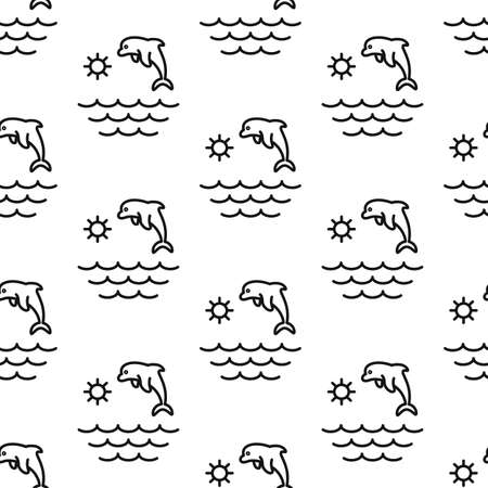 Dolphin, ocean, sea, sun. Pattern. Seamless vector illustration. Line. Flat. Ilustração