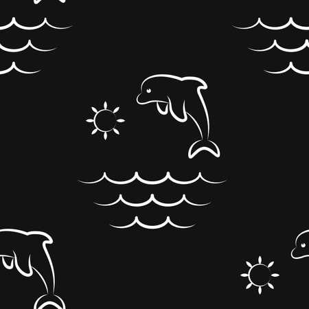 Dolphin, ocean, sea, sun. Pattern. Seamless vector illustration. Art Line. Flat.