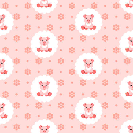 Cute baby pig in bib. Icon. Seamless vector illustration. Flat. Illustration