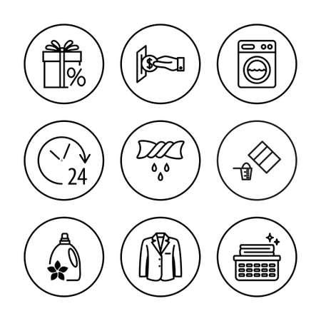 Laundry, clothing care, wash, icons set. Universal