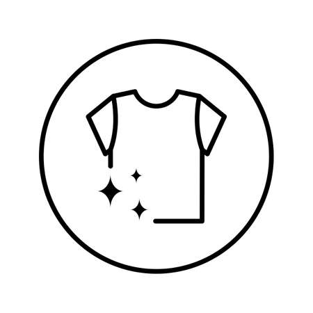 Washed T-shirt. Laundry Service. Icon. Editable Thin line. Vector illustration.
