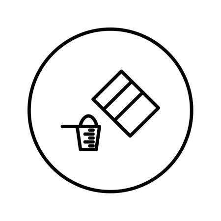 Pack of powder and measuring cup. Icon. Editable Thin line. Vector illustration.