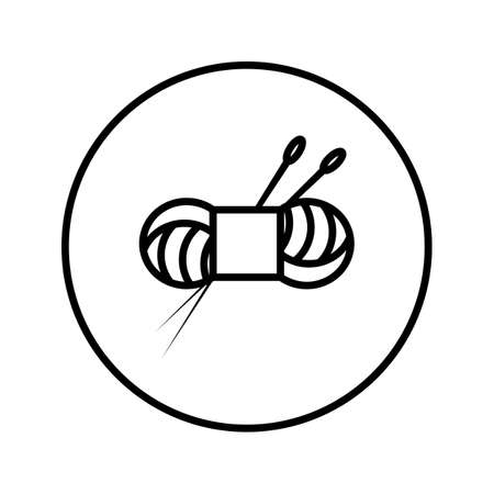 Skein of yarn and knitting needles. Icon. Editable Thin line. Vector illustration.  イラスト・ベクター素材