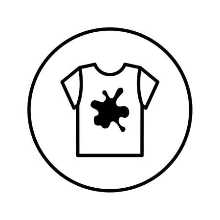 Dirty T-shirt. Laundry Service. Icon. Editable Thin line. Vector illustration.  イラスト・ベクター素材