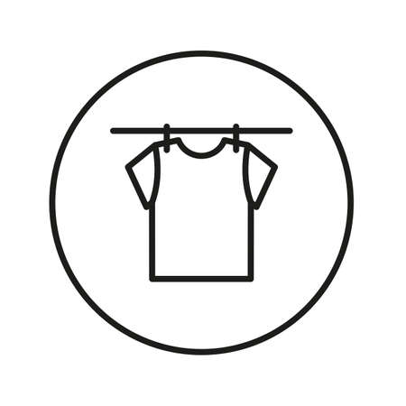 Drying clothes, t-shirt on a rope with clothespins. Ilustrace