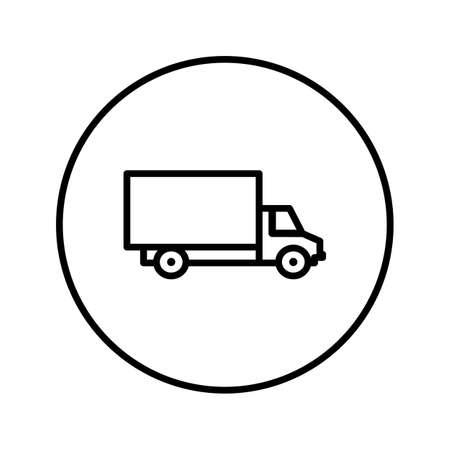 Delivery truck. Icon. Editable Thin line. Vector illustration.  イラスト・ベクター素材