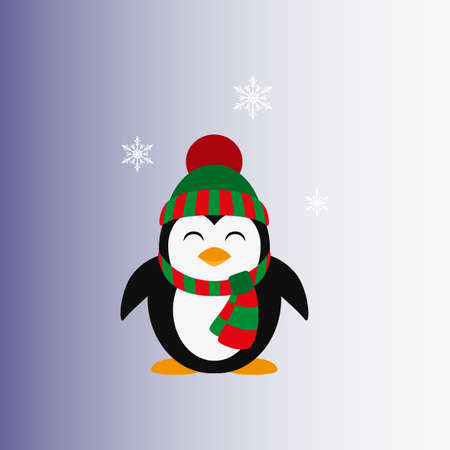 Penguin in a knitted cap. Icon.
