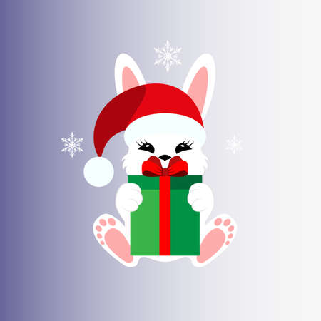Bunny with a gift in a Christmas cap. Icon. Stiker.