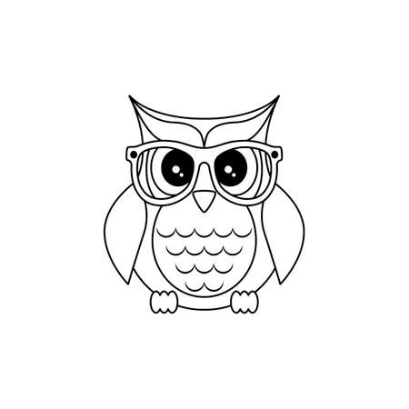 Owl in glasses. Sticker, pin, patch in cartoon 80s-90s Vector. Thin line.  イラスト・ベクター素材
