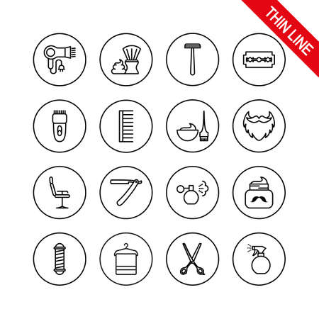 Barber Shop. Universal icons set. Vector. Thin line.  イラスト・ベクター素材