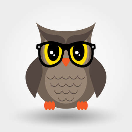 Owl in glasses. Sticker, pin, patch. Vector.Icon. Flat design.