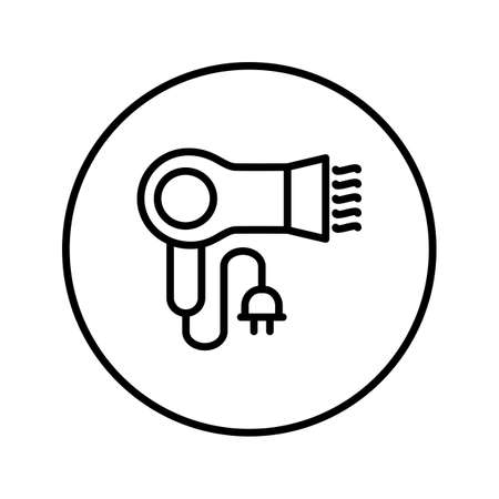 Hair dryer. Beauty industry. Icon. Editable Thin line. Vector illustration.  イラスト・ベクター素材