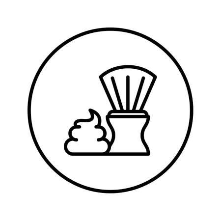 Shaving brush and foam. Icon. Editable Thin line. Vector illustration.