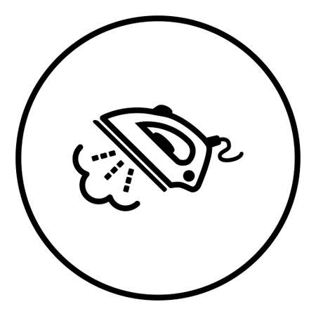 Steam iron. Icon. Editable Thin line. Vector illustration.