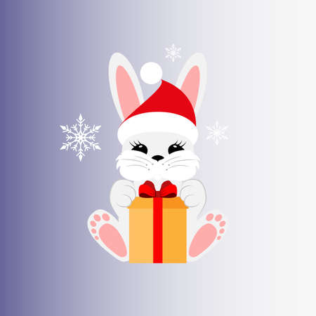 Bunny with a gift in a Christmas cap. Icon. Stiker. Vector. Flat. Illusztráció