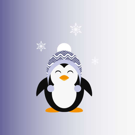 Penguin in a knitted cap. Icon. Vector. Flat.