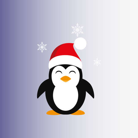 Penguin in a Santa Claus hat. Icon. Vector. Flat.  イラスト・ベクター素材