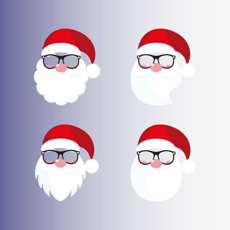 Santa masks. Beard, nose, mustache, hat, glasses.