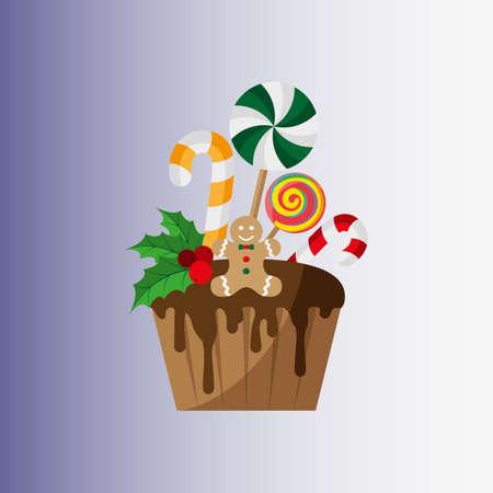 Christmas cupcake. Festive cupcake. Christmas and New Year. Vector illustration. Flat design Illusztráció