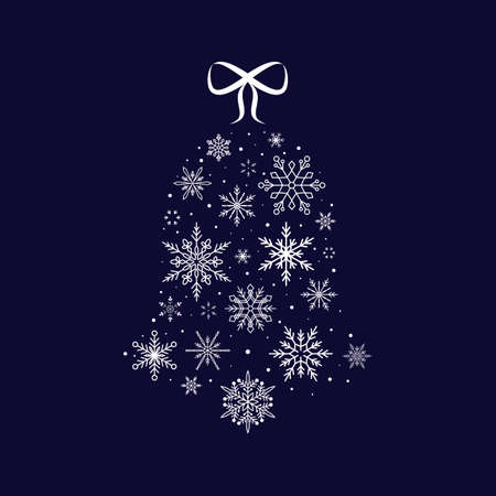 Snowflake bell. Christmas and New Year. Vector illustration. Flat design
