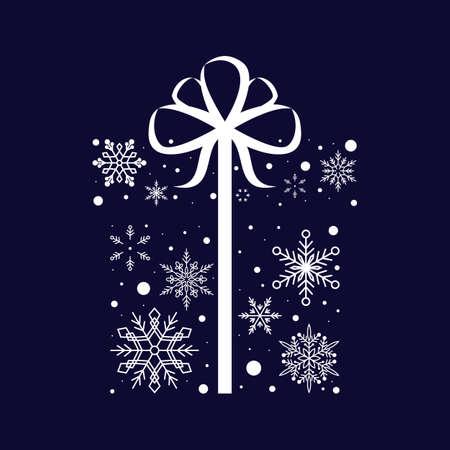 Snowflake Gift Box. Christmas and New Year. Vector illustration. Flat design Illusztráció