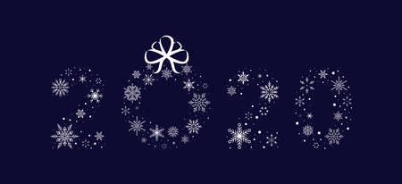 2020 of snowflakes with christmas wreath. New Year. Vector illustration. Flat design