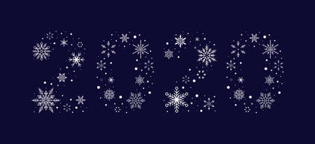 2020 from snowflakes. New Year. Vector illustration. Flat design