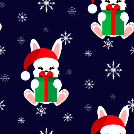 Bunny with a gift in a Christmas cap. Vector illustration. Seamless pattern. Flat.