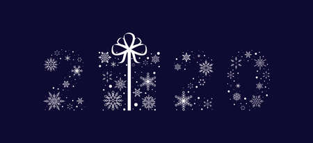 2020 from snowflakes with a gift. New Year. Vector illustration. Flat design