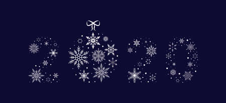 2020 of snowflakes with christmas ball. New Year. Vector illustration. Flat design