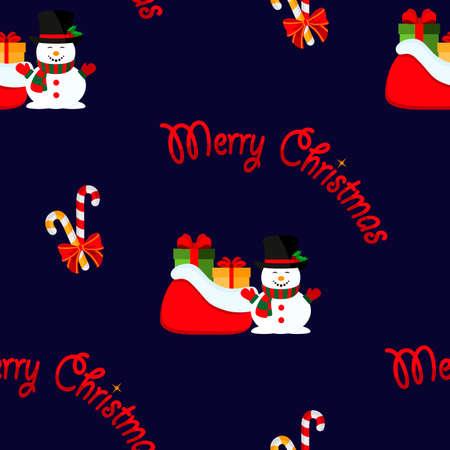 Merry Christmas. Snowman with a bag of gifts. Vector illustration. Seamless pattern. Flat. Illusztráció
