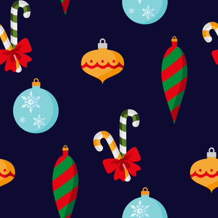 Christmas decorations with Red bow. Seamless pattern. Vector illustration. Flat design Illusztráció