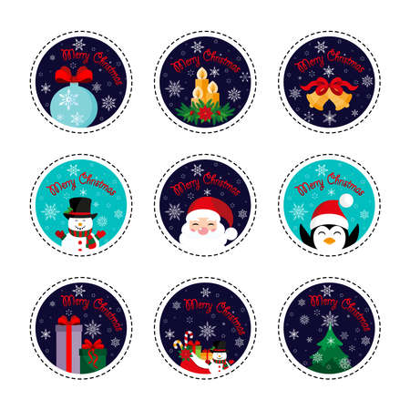 Merry Christmas. Patch set. Christmas and New Year. Vector illustration. Flat design