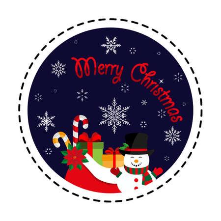 Merry Christmas. Snowman with a bag of gifts. Icon. Vector. Flat. Illusztráció
