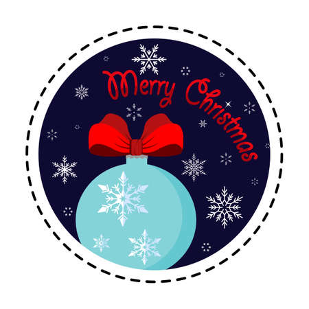 Snowflake ball. Merry Christmas. Vector illustration. Flat design