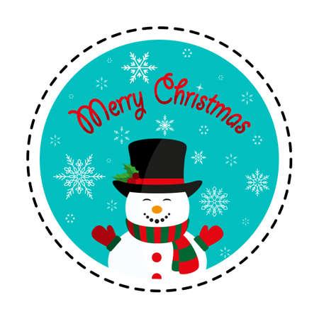 Snowman in black hat. Merry Christmas. Vector illustration. Flat design