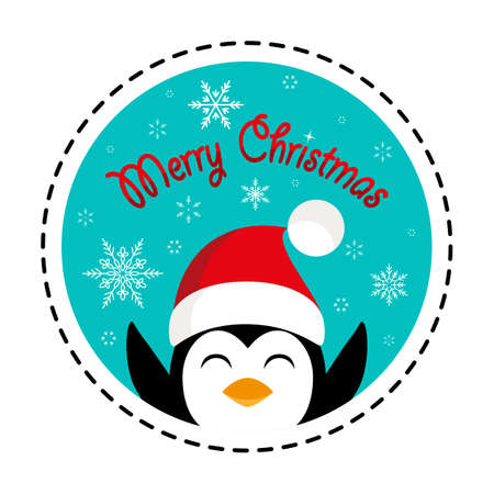 Penguin in santa hat. Merry Christmas. Vector illustration. Flat design Illusztráció