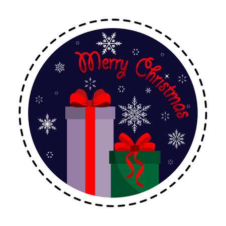 Gift box. Merry Christmas. Vector illustration. Flat design