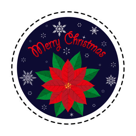 Poinsettia. Merry Christmas. Vector illustration. Flat design