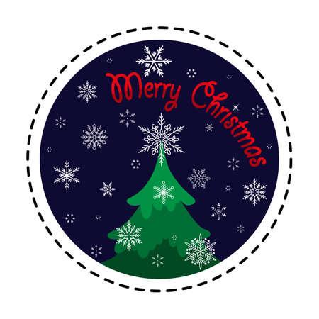 Christmas tree in snowfall. Merry Christmas. Vector illustration. Flat design