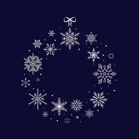 Christmas Snowflake Wreath. Christmas and New Year. Vector illustration. Flat design Illusztráció