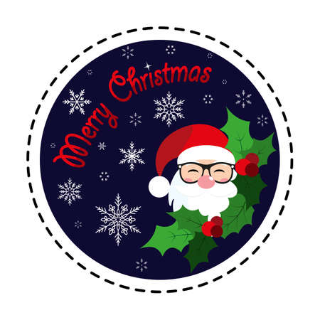 Santa Claus. Merry Christmas. Holly Berry. Icon. Vector. Flat.