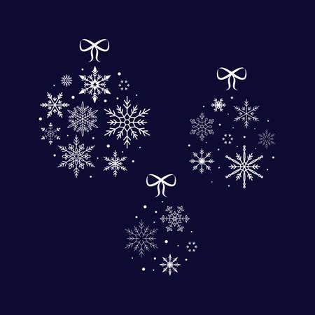 Snowflake ball. Christmas and New Year. Vector illustration. Flat design