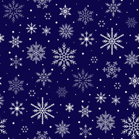 Christmas pattern. Snowflake background. Seamless vector illustration. Flat design style. Illusztráció