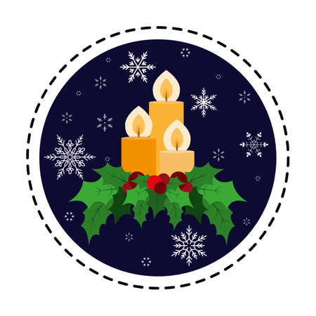 Christmas candle decorated with holly berry. Vector. Flat.
