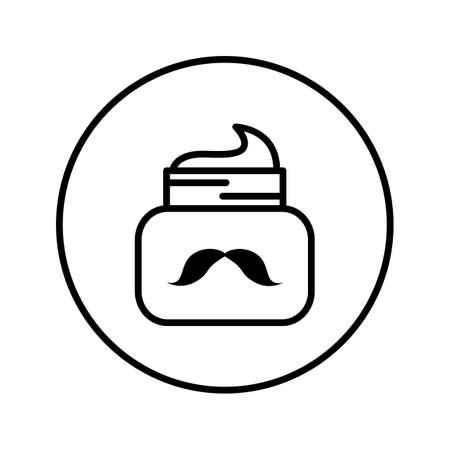 Jar with caring for mustaches. Universal icon . Editable Thin line. Vector illustration. Illusztráció
