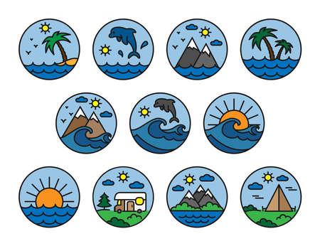 Nature,vacation,camping. Set. Flat. Icon. Vector. Logo. Editable stroke