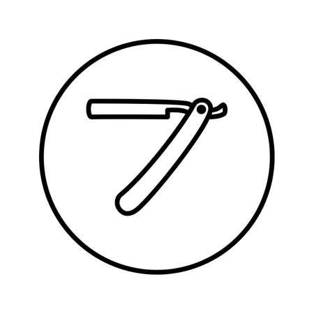 Straight razor. Barber shop. Icon. Thin line. Vector
