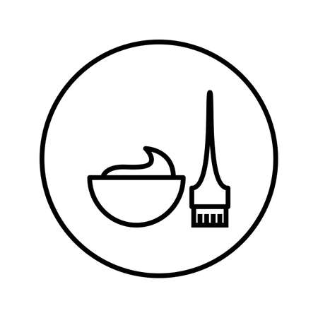 Hair dye brushes and container. Universal icon . Editable Thin line. Vector illustration.